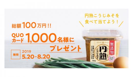 [ひかり味噌󠄀] 総額100万円!レシートで円熟QUOカードをプレゼント!キャンペーン | 2019年8月20日(火)まで