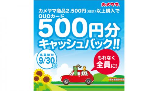 [カメヤマ] もれなく全員に!QUOカード500円分キャッシュバックキャンペーン | 2019年9月30日(月) まで