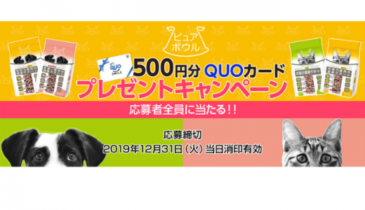 [ペットライブラリー] 500円分QUOカードプレゼントキャンペーン | 2019年12月31日(火) まで