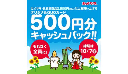 [カメヤマ] もれなく全員に! オリジナルQUOカード500円分キャッシュバックキャンペーン | 2020年10月7日(水) まで
