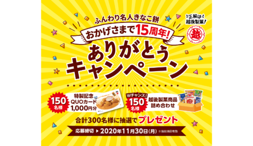 [越後製菓] ふんわり名人きなこ餅 おかげさまで15周年! ありがとうキャンペーン | 2020年11月30日(月) まで