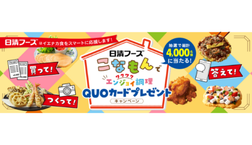[日清フーズ] こなもんでワクワク・エンジョイ調理QUOカードプレゼントキャンペーン | 2021年1月31日(日) まで
