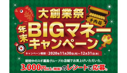 [スギ薬局] 大創業祭 年末BIGマネーキャンペーン | 2020年12月31日(木) まで